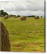 Haybales In Field On Stormy Day Canvas Print