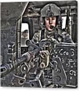 Hdr Image Of A Uh-60 Black Hawk Door Canvas Print