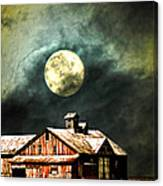 Hdr Moon And Barn Canvas Print