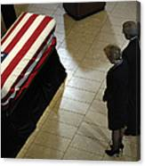 He Casket Of Former President Gerald R Canvas Print