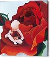 Healing Painting Baby Sitting In A Rose Canvas Print