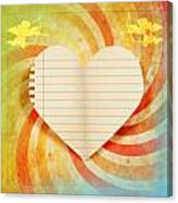 Heart Paper Retro Design Canvas Print