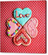Heart Shaped Love Cookies Canvas Print