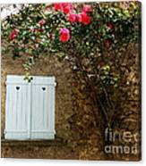 Heart Shutters And Red Roses Canvas Print