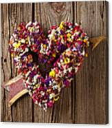Heart Wreath With Weather Vane Arrow Canvas Print