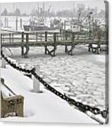 Heavy Snow Falls At Sandwich Marina In Sandwich On Cape Cod Canvas Print