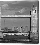 Helicopters Flying Through Tower Bridge Canvas Print