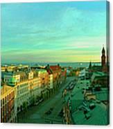 Helsingborg And Oresund Beyond Canvas Print