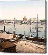 Helsinki Finland - Russian Cathedral And Harbor Canvas Print