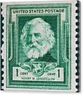 Henry W Longfellow Postage Stamp Canvas Print