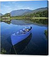High Angle View Of A Boat In A Lake Canvas Print