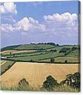 High Angle View Of Patchwork Fields Canvas Print