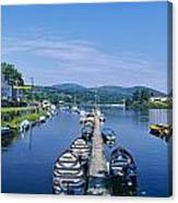 High Angle View Of Rowboats In The Canvas Print