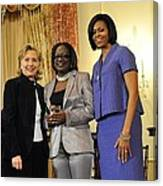 Hillary Clinton And Michelle Obama Canvas Print