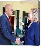 Hillary Clinton Meets With Haitian Canvas Print