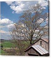 Hillside Weathered Barn Dramatic Spring Sky Canvas Print