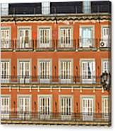 Historic Facade At Plaza Mayor In Madrid Canvas Print