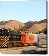 Historic Niles Trains In California . Old Southern Pacific Locomotive And Sante Fe Caboose . 7d10822 Canvas Print