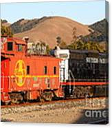 Historic Niles Trains In California . Old Southern Pacific Locomotive And Sante Fe Caboose . 7d10843 Canvas Print