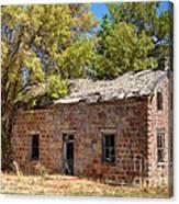 Historic Ruined Brick Building In Rural Farming Community - Utah Canvas Print