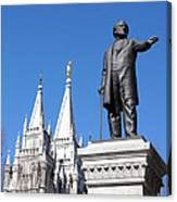 Historic Salt Lake Mormon Lds Temple And Brigham Young Canvas Print