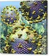 Hiv Three Virions On Blue Canvas Print
