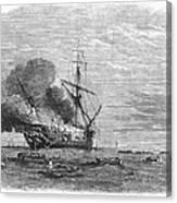 Hms Bombay Burning, 1865 Canvas Print