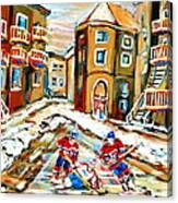 Hockey Art Hockey Game Plateau Montreal Street Scene Canvas Print