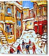 Hockey Art Montreal City Streets Boys Playing Hockey Canvas Print