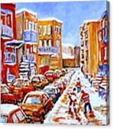 Hockey Art Streets Of Montreal Hockey Paintings Canvas Print