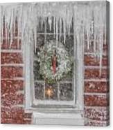 Holiday Wreath In Window With Icicles During Blizzard Of 2005 On Canvas Print
