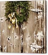 Holiday Wreath On The Farm Canvas Print
