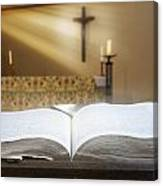 Holy Bible In A Church Canvas Print
