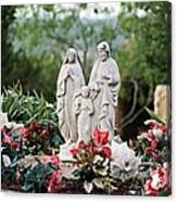 Holy Family In The Garden Canvas Print