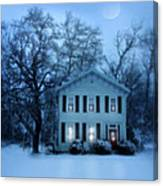 Home On A Wintery Evening Canvas Print
