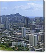 Honolulu And Diamond Head Canvas Print