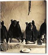 Hopi Girls Grinding Corn Canvas Print