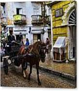 Horse And Buggy In Old Cartagena Colombia Canvas Print