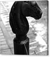Horse Head Pole Hitching Post French Quarter New Orleans Black And White Canvas Print