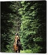 Horseback Riding On An Emerald Lake Canvas Print