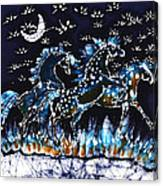 Horses Frolic On A Starlit Night Canvas Print