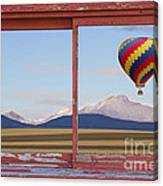 Hot Air Balloon And Longs Peak Red Rustic Picture Window View Canvas Print