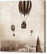 Hot Air Balloons Over 1949 New York City Canvas Print