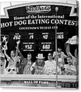 Hotdog Eating Contest Time In Black And White Canvas Print