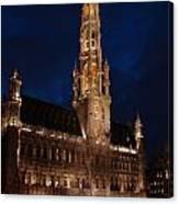 Hotel De Ville De Bruxelles At Night Canvas Print