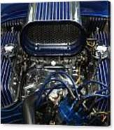 Hotrod Engine In Blue Canvas Print