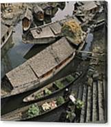Houseboats Line A Waterway Canvas Print