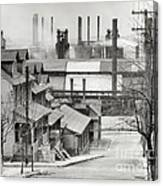 Houses And Steelmill Canvas Print