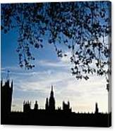 Houses Of Parliament Silhouette Canvas Print