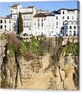 Houses On A Cliff In Ronda Town Canvas Print